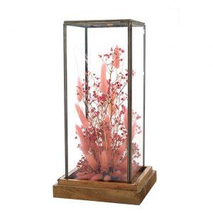 Cube en verre Fleurs Pink