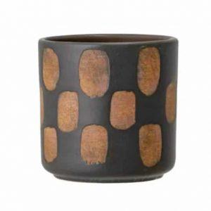 Cache-pot design bloc noir et terre cuite