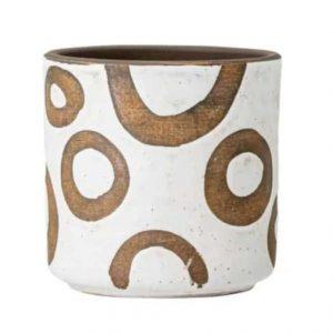 Cache-pot design cercle blanc et terre cuite