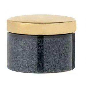 Boîte de rangement en grès bleu et or avec couvercle