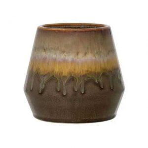Pot de fleurs en grès multicolore