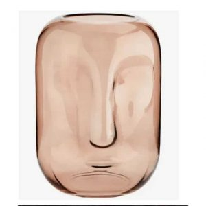 Grand vase visage en verre rose