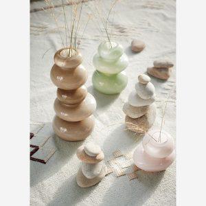 Vase galet en verre vert pistache