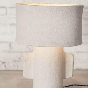 Lampe Earth papier mâché blanc